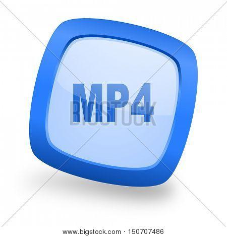 mp4 blue glossy web design icon