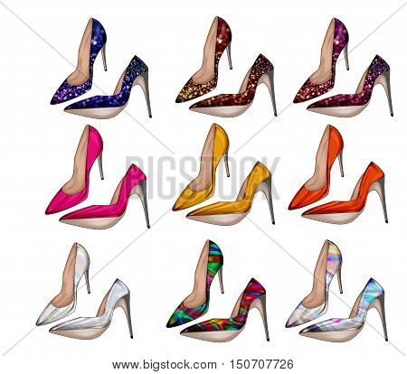 Collection of different colorful shoes- woman heel