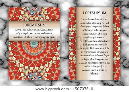 Invitation Card Design Template. Vintage Decorative Elements With Mandala, Delicate Floral Pattern.