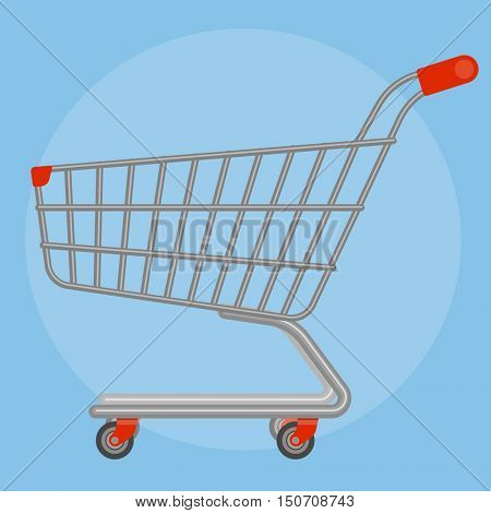 Side view empty supermarket shopping cart  flat design vector icon mock up.