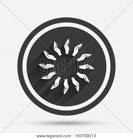 Donation hands circle sign icon. Charity or endowment symbol. Human helping hand palm. Circle flat button with shadow and border. Vector