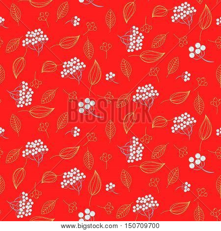 Rowan berry and leaves seamless red vector nature pattern. Red berry pattern background.