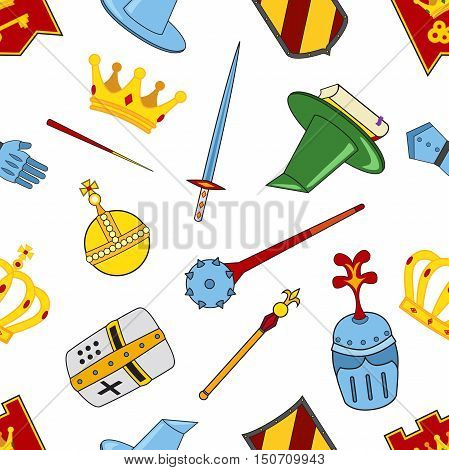 Kingdom pattern - castle spear shield knights helmets magic wand book of magic steel glove ribbon crowns mace orb. Legendary fairy-tale flat icons set abstract isolated vector pattern.