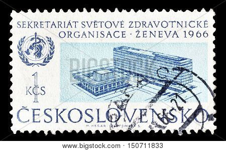 CZECHOSLOVAKIA - CIRCA 1966 : Cancelled postage stamp printed by Czechoslovakia, that shows WHO headquarter in Geneva.
