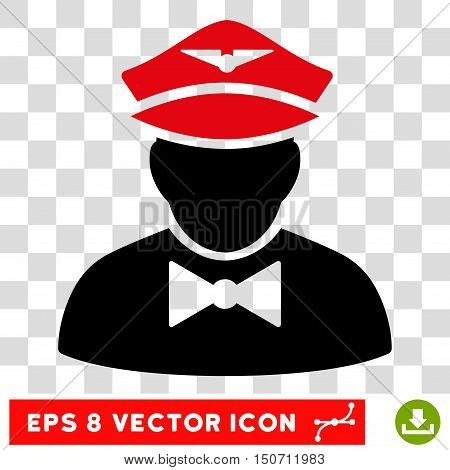 Vector Airline Steward EPS vector pictograph. Illustration style is flat iconic bicolor intensive red and black symbol on a transparent background.
