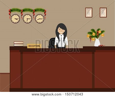 New Year in the hotel. Hotel reception with Christmas decoration. Young woman receptionist stands at reception desk. Travel, hospitality, hotel booking concept. Vector illustration