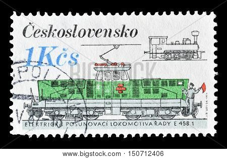 CZECHOSLOVAKIA - CIRCA 1986 : Cancelled postage stamp printed by Czechoslovakia, that shows Locomotive.