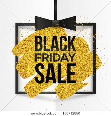 Black square vector frame with golden glitter brush stroke and Black Friday Sale sign inside