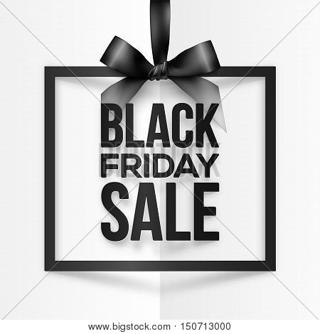 Black square vector frame hanging on silky ribbon with Black Friday Sale sign inside