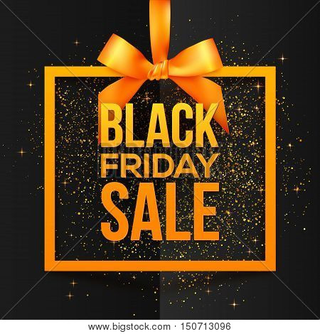 Orange vector square frame hanging on silky ribbon with bow and Black Friday Sale sign inside