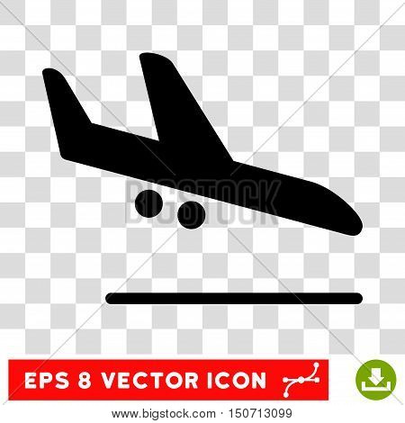 Vector Aiplane Landing EPS vector pictogram. Illustration style is flat iconic black symbol on a transparent background.