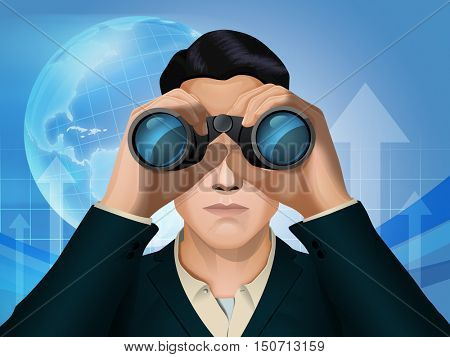 Businessman looking through some binoculars. Digital illustration.