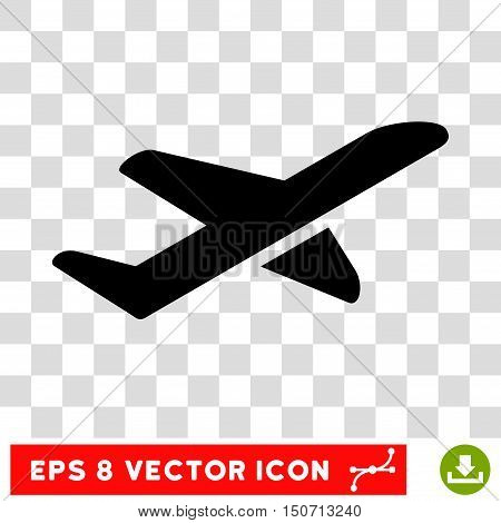 Vector Airplane Takeoff EPS vector pictograph. Illustration style is flat iconic black symbol on a transparent background.