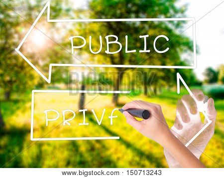 Woman Hand Writing Private Or Public With Marker On Transparent Wipe Board