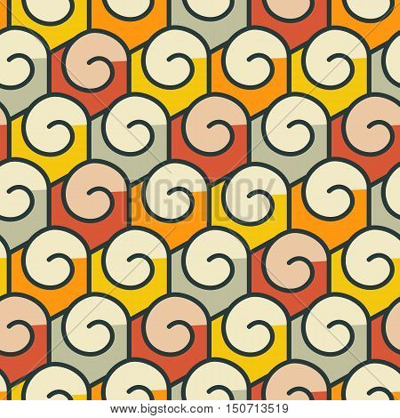 Geometric abstract seamless pattern. Linear motif background. Colorful shapes of spirals and hexagonal grid