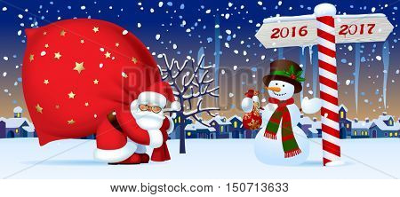 Santa Claus carrying a big red sack, snowman and wooden sign showing the way to 2017 against the the winter country landscape. Christmas and New Year mug design and greeting card