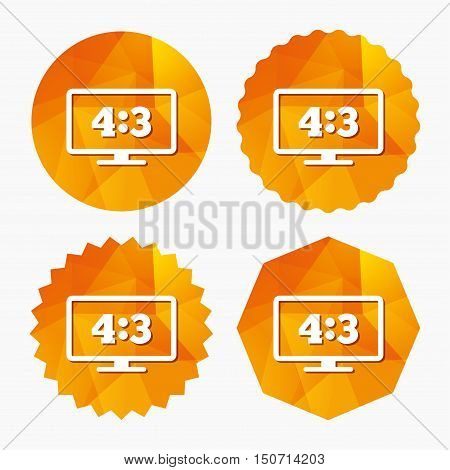 Aspect ratio 4:3 widescreen tv sign icon. Monitor symbol. Triangular low poly buttons with flat icon. Vector