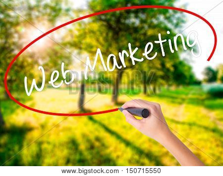 Woman Hand Writing Web Marketing With A Marker Over Transparent Board