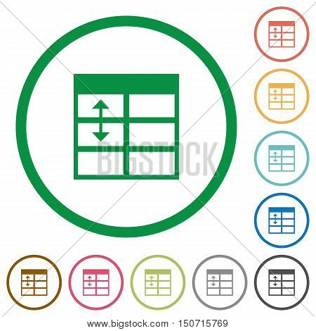 Set of Spreadsheet adjust table row height color round outlined flat icons on white background