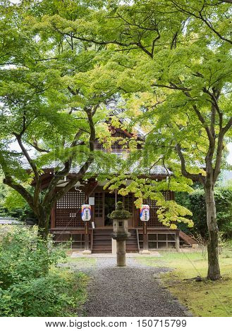 Kyoto Japan - September 15 2016: At the Shinnyo-do Buddhist Temple several stand-alone smaller buildings in the green garden offer space to meditate pray or meet.