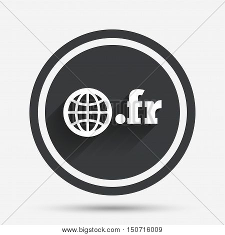 Domain FR sign icon. Top-level internet domain symbol with globe. Circle flat button with shadow and border. Vector