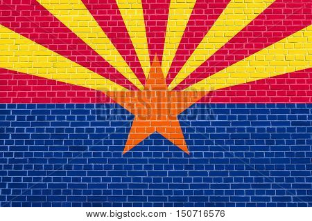 Arizonian official flag symbol. American patriotic element. USA banner. United States of America background. Flag of the US state of Arizona on brick wall texture background, 3d illustration