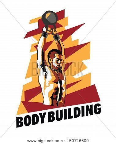 Vector illustration of bodybuilder on an abstract background. Bodybuilding poster.
