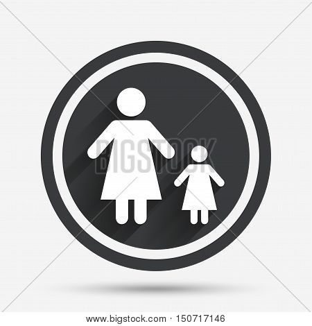 One-parent family with one child sign icon. Mother with daughter symbol. Circle flat button with shadow and border. Vector
