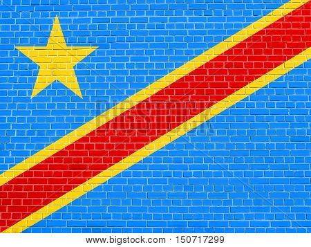 DR Congo national official flag. African patriotic symbol banner element background. Flag of Democratic Republic of the Congo on brick wall texture background, 3d illustration