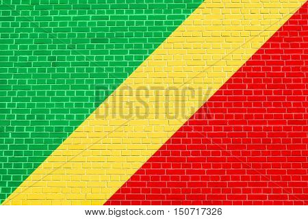 Congo Republic national official flag. African patriotic symbol banner element background. Flag of Republic of the Congo on brick wall texture background, 3d illustration