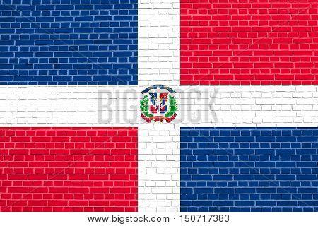 Dominican Republic national official flag. Patriotic symbol banner element background. Flag of Dominican Republic on brick wall texture background, 3d illustration
