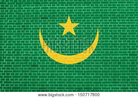 Mauritanian national official flag. African patriotic symbol banner element background. Flag of Mauritania on brick wall texture background, 3d illustration