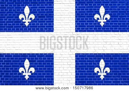 Canadian provincial flag QC patriotic element and official symbol. Canada Quebec banner and background. Flag of the Canadian province of Quebec on brick wall texture background, 3d illustration