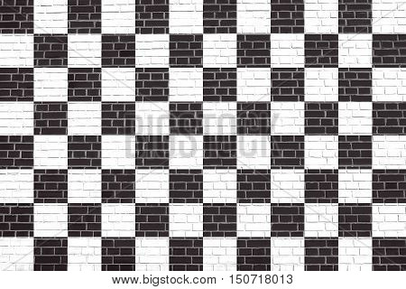 Checkered racing flag. Symbolic design of end of car race. Black and white background. Checkered flag on brick wall texture background, 3d illustration