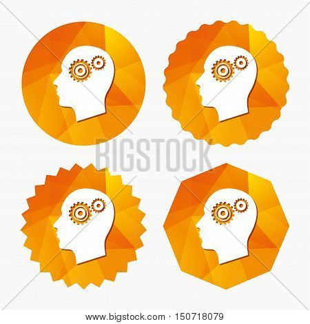 Head with gears sign icon. Male human head symbol. Triangular low poly buttons with flat icon. Vector