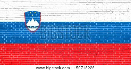 Slovenian national symbol. Patriotic background design. Flag of Slovenia on brick wall texture background, 3d illustration