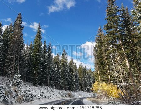Big cottonwood canyon in the winter with the leaves changing colors
