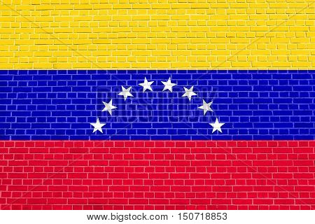 Venezuelan national official flag. Bolivarian Republic of Venezuela patriotic symbol banner element background. Flag of Venezuela on brick wall texture background, 3d illustration