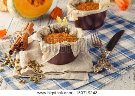 Sweet pumpkin souffle selective focus on table