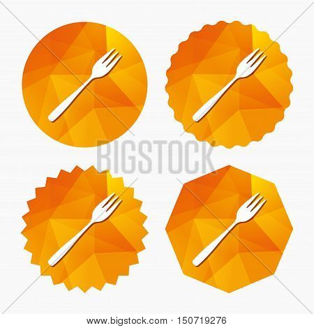 Eat sign icon. Cutlery symbol. Diagonal dessert trident fork. Triangular low poly buttons with flat icon. Vector