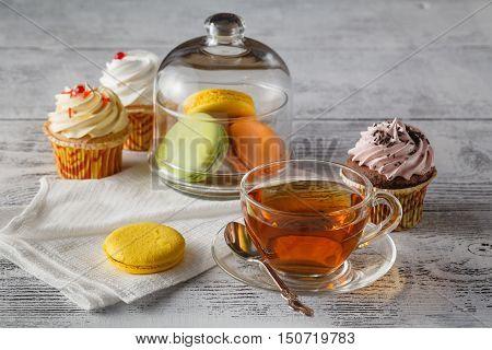 French Macaroons. Coffee, Chocolate, Vanilla And Raspberry