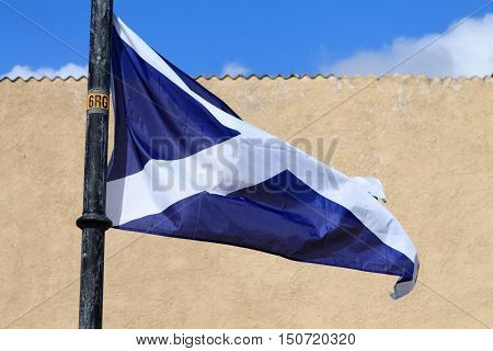 Scottish flag waving in the wind .