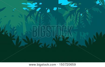 llustration. Dark wild tropical jungle with trees and palms. Background.