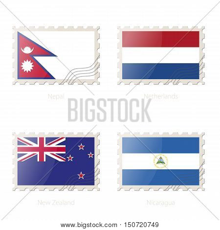 Postage Stamp With The Image Of Nepal, Netherlands, New Zealand, Nicaragua Flag.