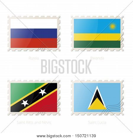Postage Stamp With The Image Of Russia, Rwanda, Saint Kitts And Nevis, Saint Lucia Flag.