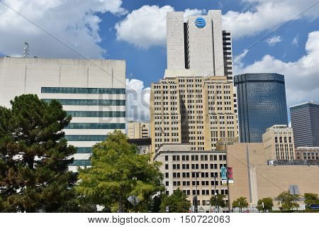 DALLAS, TX - SEP 17: Downtown Dallas in Texas, as seen on Sep 17, 2016. Dallas is the largest urban center of the fourth most populous metropolitan area in the United States.