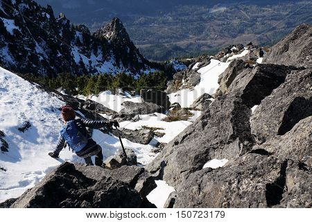 A Climber Descends Mt. Baring in the Cascade Mountains. Mt Baker Snoqualmie National Forest, Washington