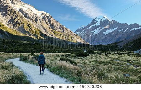 A Woman Hiker Approaches Mt. Cook on the Hooker Valley Track.  Mt Cook National Park, New Zealand