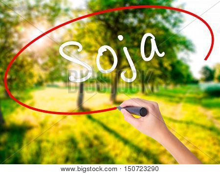 Woman Hand Writing Soja (soybean In Portuguese) With A Marker Over Transparent Board