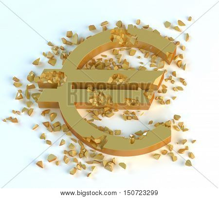 3d golden crushed symbol of euro € on a light background